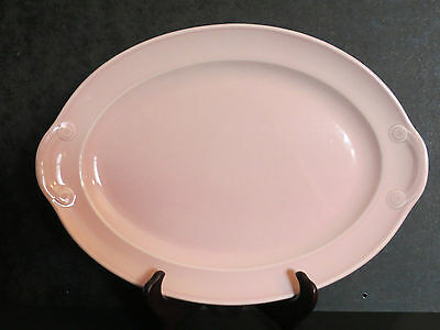 Vintage Taylor Smith & Taylor Lu-Ray Luray Pastels Pink Oval Tab Handled Platter