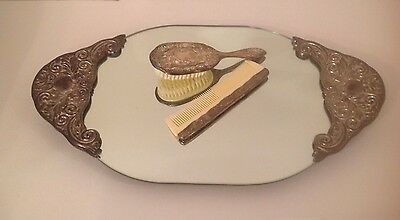 "Vintage Art Deco Silver Plated Footed Mirrored Vanity Dresser Tray- 21""-"