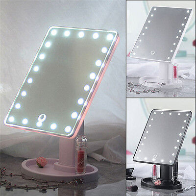 22 LED Touch Screen Make Up Mirror Cosmetic Tabletop Vanity Bathroom Mirror
