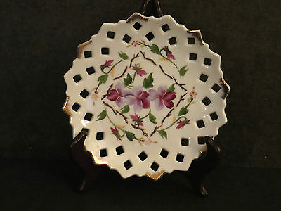 Lefton Small Plate Decorated with Violets and Open Work #20333 Vintage Japan