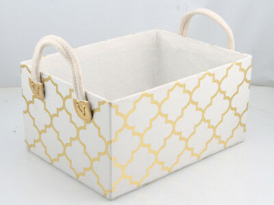 1 set of 3 metallic printed canvas fabric storage basket gold and white rectangl