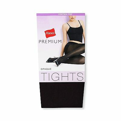 Lot Of 2 Hanes Premium Women's Control Top Opaque Tights - Black - Large
