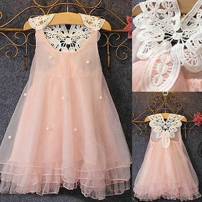 Flower Girls Princess Dress Kids Baby Party Pageant Wedding Lace Tutu Dresses
