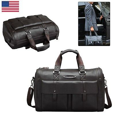 Vintage Men Genuine Leather Briefcase Travel Overnight Handbag Attache Gym Bag