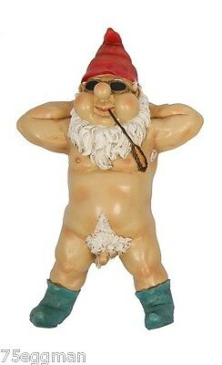 Nude Garden Gnome With Blue Shoes - Funny Rude Naked Garden Gnome Laying Back