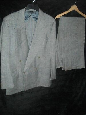 Vtg 40 50S 38 Stripe Gangster Hollywood Double Breasted Blazer Pants Suit Jacket