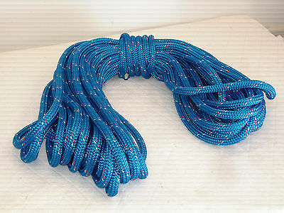 """Double Braid Polyester 1/2""""x100 feet yacht braid halyard blue red/white tracers"""