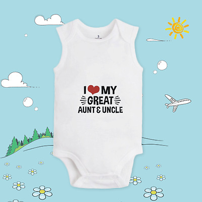 Baby clothing custom T shirt cotton soft body I Love my great aunt & uncle X 721