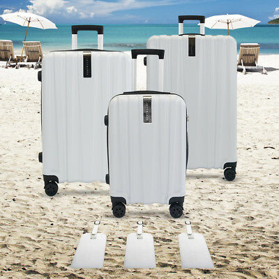 3pc White Lightweight Luggage Suitcase Set TSA Travel Hard and 3pc Luggage Tags