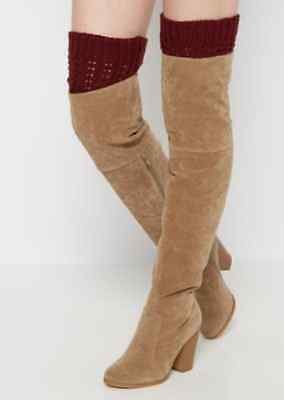 RUE21 Burgundy Cable Ribbed Leg Warmers Women's One Size Fit Most Free Shipping!