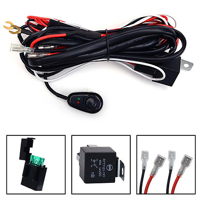 Wiring Harness Kit 12V 40A LED Work Fog Light Bar Relay ON OFF Switch Cable Kit