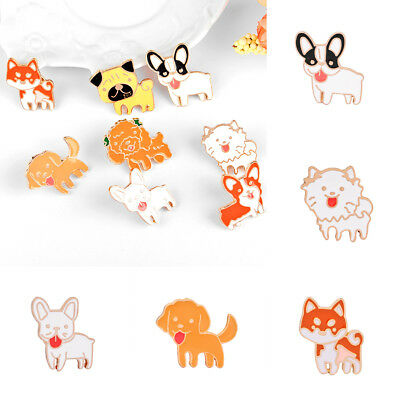 Cute Dog Pet Cartoon Brooch Pin Jewellery Enamel Badges Collar Lapel Women Girl