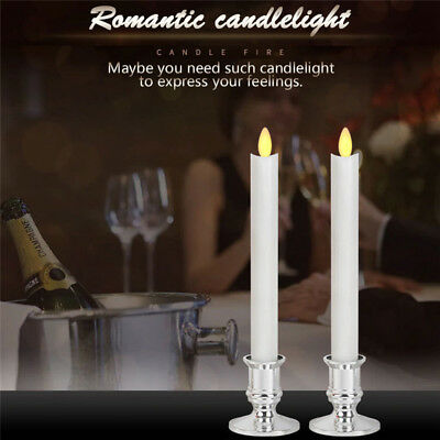 2pcs Taper Candle Lamp Simulated Flameless LED Remote Lights Battery Operated
