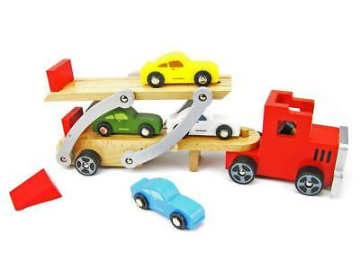 NEW Top Bright Wooden Semi Truck / Car Carrier with 4 Cars