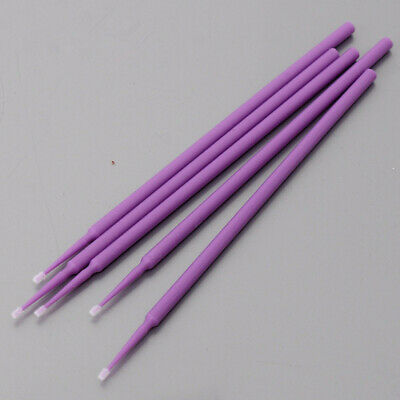 100 Pcs Dental Disposable Bendable 1.0mm Micro Applicator Brush Material Purple