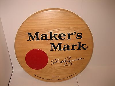 """NICE Makers Mark SOLID OAK BARREL HEAD TOP SIGN SIGNED AWESOME 21"""" BEAUTIFUL"""