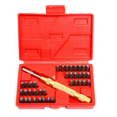 "38pc Steel Number Letter Metal Punch Set 1/8"" Stamp Automatic Center Alphabet ID"