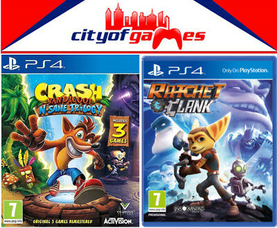 Crash Bandicoot NSane Trilogy & Ratchet and Clank PS4 Games Bundle New & Sealed
