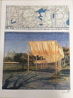 """"""" THE GATES """" CHRISTO und JEANNE CLAUDE Farb-Lithographie"""