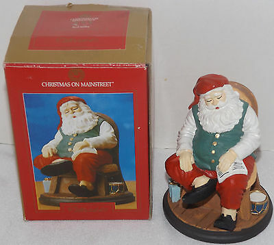 "Christmas On Mainstreet Santa Sleeping on Chair resin Figure 4.5"" tall"