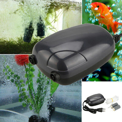 Silent Energy Efficient Double Hole Aquarium Fish Tank Oxygen Air Pump