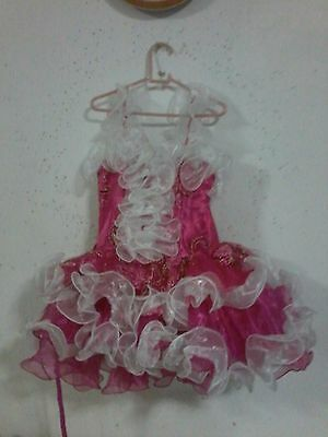 Early antique handmade girls pink raspberry colored calico short dress gypsy sky