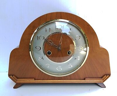 Art Deco Smiths Honey Oak Striking Clock With Rare Coral Dial