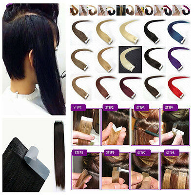 40-66Cm Extensions Tape Bandes Adhesives Cheveux Naturels Remy Hair