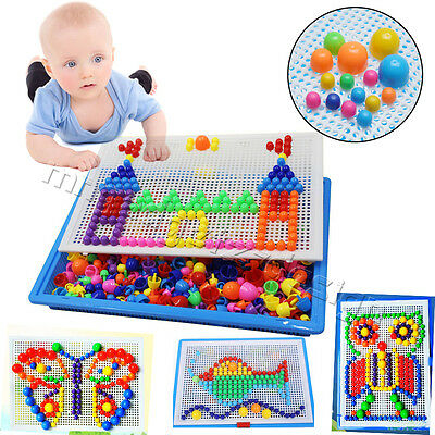 Kids Mosaic Mushroom 296pcs Nail Puzzle Creative Game Pegboard for Children Toys