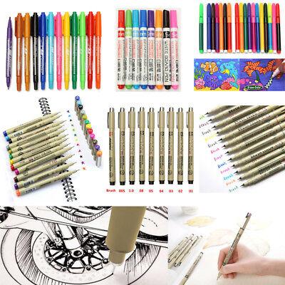 7-20pcs 0.5mm/1.5mm Paint Copic Graphic Sketch Drawing Markers Art Pens Set