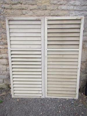 VINTAGE WOODEN SHUTTERS FRENCH LOUVER SHABBY 143.5t x124.5w cm  WINDOW SHUTTERS