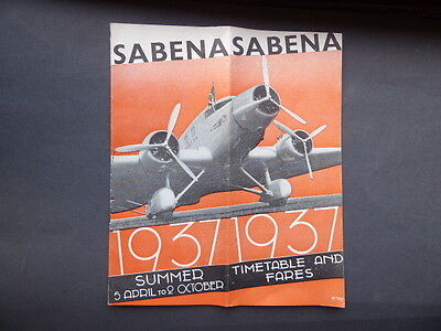 Sabena - Timetable And Fares Summer 1937