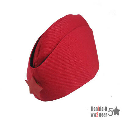 WW2 Reproduction Russia Military Women Hat Garrison Cap Forage Red 5 Stars