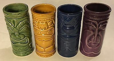 Hawaiian Tiki Ceramic Mugs 2001 Mount Gay Rum Barware Set of 4 Accoutrements