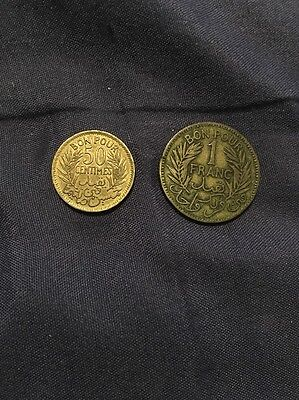 1945 Tunisia 1 Franc And 1941 50 Centimes