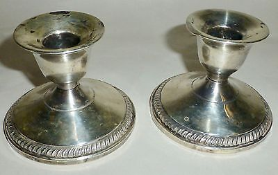 Vintage Fisher Silversmiths Weighted Sterling Silver Candle Stick Holders #850
