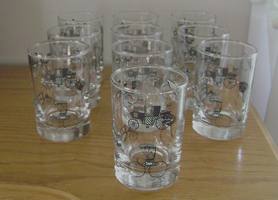 Lot Of 10 Libbey Carriage/Buggy Design Black/ White Juice/Drink Glasses Nice