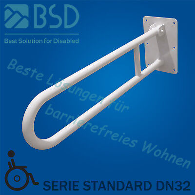 Folding security grab bar Ø32 mm, white powder coated