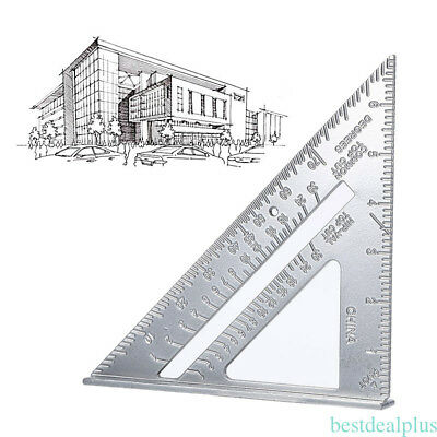 "7"" Metric system Tri-square Aluminum Alloy silver ruler for hobbyists home YH"