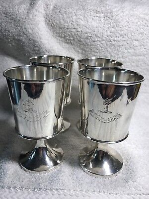 """4 Vintage Cordial Cups Goblets Silver  4"""" Marked TE&S Made In England"""