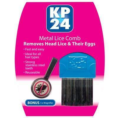 Kp24 Metal Lice Comb Ideal For Thick, Curly Or Long Hair, Bonus 5X Magnifier