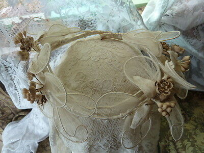 Enchanting Antique Bridal Couronne Tiara, Wax Flowers and Fairy Wings