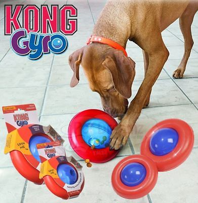 Kong Gyro Interactive Dog Puppy Treat Dispensing Roll Flip & Spin Ball Toy