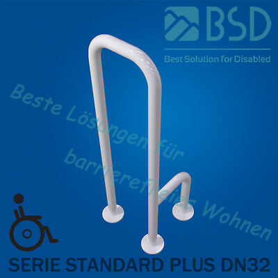 Toilet grab bar – floor-to-floor right or left mounted, white, Ø32mm