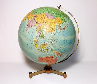 "Vintage 12"" Repogle Raised Topographic World Globe W/brass, Walnut Tripod Stand"