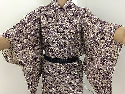 Authentic Japanese purple wool kimono for women, imported from Japan, M (M1571)