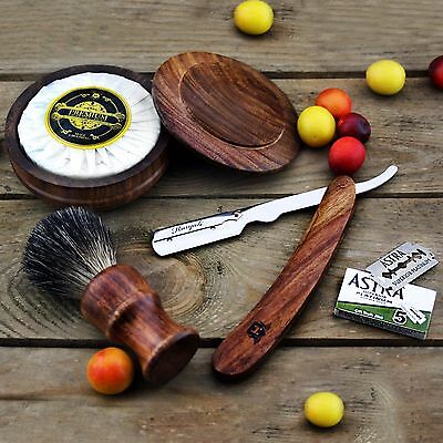Rose Wood Shaving Set Featuring  Badger Brush, Shavette Razor,Bowl & Soap+ Blade