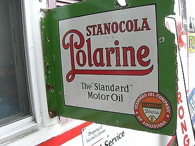 Stanocola Motor Oil Porcelain Sign Louisiana Very Rare 20 By 22  1910
