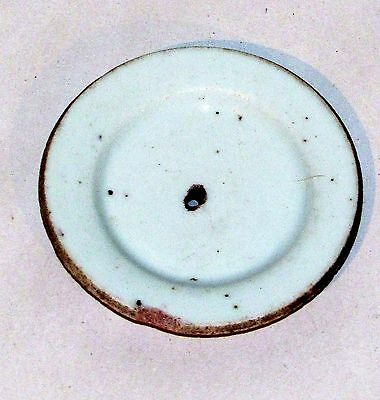 """Antique Chinese Qing White Glaze Pottery Teapot Lid 3"""" d."""