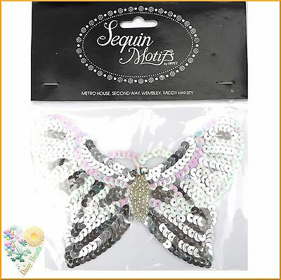 Butterfly Sequin Motif in Silver and Pearlescent Colours with Beads & Diamantes